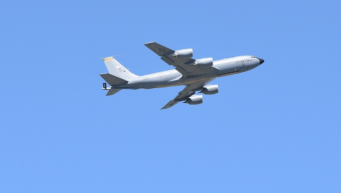 A Team McConnell KC-135 Stratotanker takes off for an in-air refueling flight